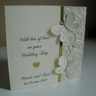 Sparkly Butterflies Wedding Card - Personalised - Congratulations - Marriage