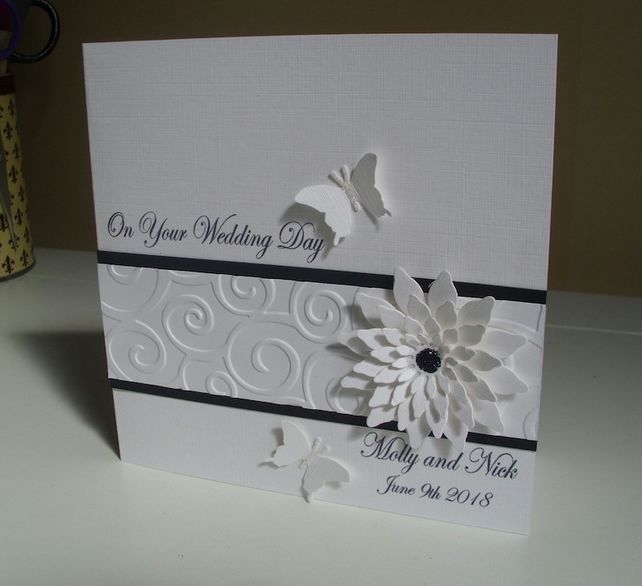 Floral Butterfly Personalised Wedding Card - White and Black - Marriage