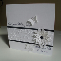 Sparkly Floral Butterfly Wedding Card - Personalised - White and Black - Union