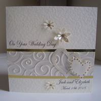Sparkly Hearts Wedding Card - personalised - Square Card - Partnership Card