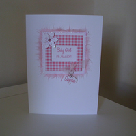 Baby Girl Gingham Frame Personalised Card - Pink - White - A6 Card - Birth