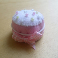 Miniature Pink Felt Cupcake Pin Cushion - Recycled