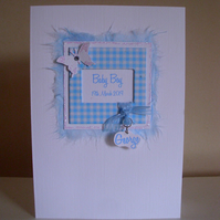Baby Boy Gingham Frame Personalised Card - A6 Card - New Baby - Birth