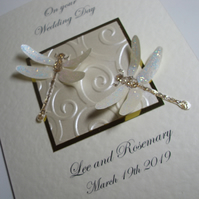 Sparkly Dragonflies Personalised Wedding Card - Congratulations Card - Marriage