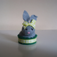 Tiny Felt Bunny Rabbit Pin Cushion - Dolls House - Cake Topper - Miniature
