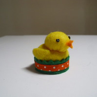 Tiny Felt Chick Pin Cushion - Miniature - Dolls House - Duckling