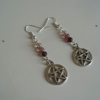 Pentacle Beaded Earrings - Dangle Earrings - Plum - Pink - Pentagram - Wiccan