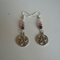 Plum Pink Beaded Pentagram Earrings - Dangle - Pentacle - Wiccan