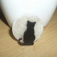 Sparkly Moonlight Black Cat Brooch Pin - silhouette - Moongazing Cats - Cat Pin