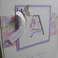 Personalised Floral Butterfly Initial Card - A6 - blank card - Congratulations