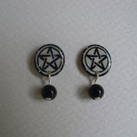 Sparkly Pentagram and Bead Earrings - Black & White - shrink plastic - pentacle