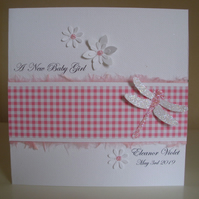 Sparkly Dragonfly Gingham Baby Girl Card - New Baby - Birth Card - New Arrival