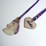 Sparkly Unicorn Bookmark Ribbon - Personalised  - Purple Velvet - Magical