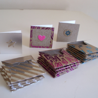Tiny Foiled Blank Cards and Envelopes x 18 - Mini Cards - Tags - Thank you Cards