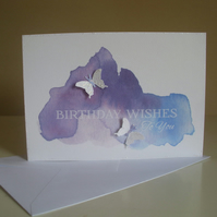 Watercolour Butterflies Birthday Card - Purple and Blue - Blank Card - A6