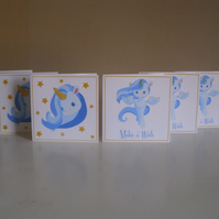 Mini Sparkly Unicorn Cards x 6 - Make a Wish - Thank you - Gift Tags