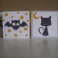 Mini Sparkly Black Cat and Bat Cards x 6 - Magical Thank you Cards - Gift Tags