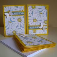 Daisy Butterfly Blank Notecards x 8 with Envelopes - Greeting Cards - Stationery