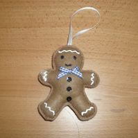 Felt Gingerbread Man Scented Decoration - Blue Gingham -  Handmade Decoration