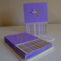 Paisley Dragonfly Blank Notecards with optional greetings x 8 - Purple - Green