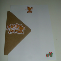 Festive Reindeer with Tree Lights Writing Paper Set - A5 - Envelopes - Stickers
