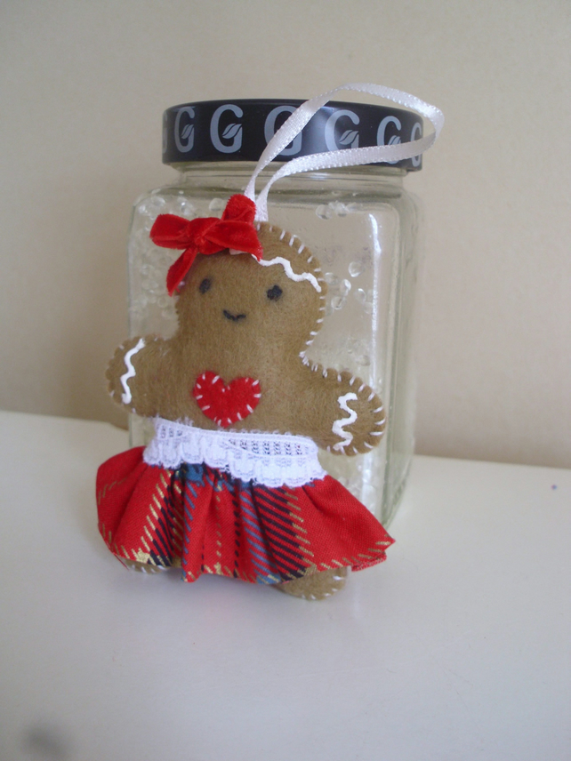 Felt Gingerbread Girl Scented Decoration - Red Tartan - Handmade Ornament