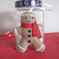 Felt Gingerbread Man Scented Decoration - Red Scarf - Hot Chocolate - Decoration