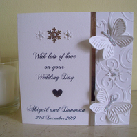 Winter Wedding Card - Sparkly Butterflies - Personalised - Congratulations