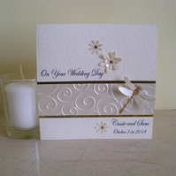 Sparkly Dragonfly Wedding Congratulations Card - Personalised - Marriage