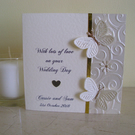 Sparkly Butterflies Personalised Wedding Card - Ivory and Gold - Anniversary