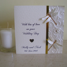 Sparkly Dragonflies Personalised Wedding Card - Ivory and Gold - Anniversary