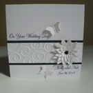 Sparkly Floral Butterfly Personalised Wedding Card - Black and White - Handmade