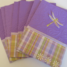 Dragonfly Notecard Set x 8 with Envelopes - Paisley and Plaid - Blank Cards