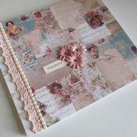 Shabby Chic Journal with tags - Romantic Vintage Design - Sketchbook - Notebook