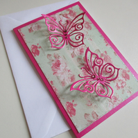 Butterfly Notecards x 4 - Pink Roses - Blank Cards - Greeting Cards