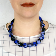 Chunky Bead Necklace - silk-cotton covered wooden beads