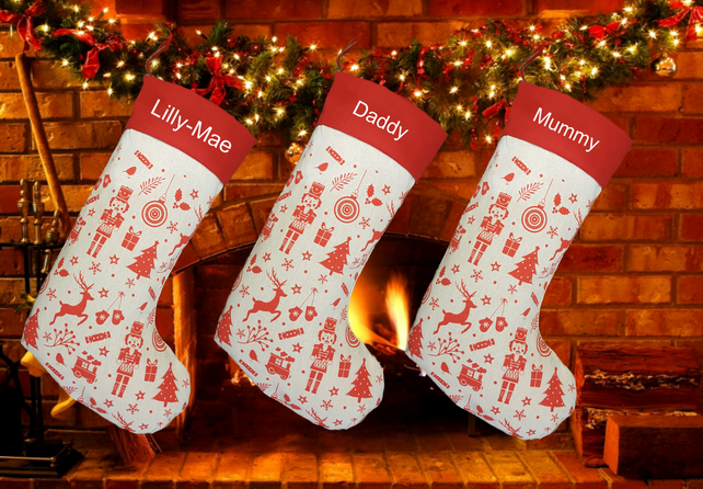Personalised Deluxe Embroidered Large 55cm Nordic Christmas Gift Xmas Stocking