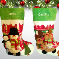 Personalised Embroidered Luxury 3d Snowman or Rudolph Character Quality Stocking