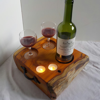 Rustic Chunky English Yew Wine Caddy tray with Tea Lights and rustic handles