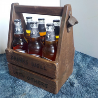Wooden Beer or Cider Bottle Crate Caddy Holds 6x 500ml Bottles