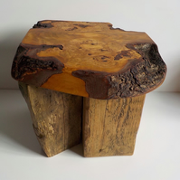 Amazing Burr Cherry Wood Rustic Coffee End Table Made in Hampshire UK