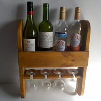 Rustic Wine and Glass Rack Handmade can be personalized wall mounted