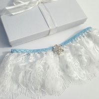 Chantilly Lace, Blue Trim and Flower Diamante Wedding Garter