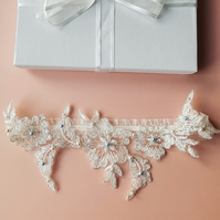 Silver Thread Lines Floral Lace Wedding Garter with Blue and White Pearl Beads