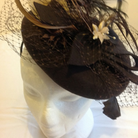 Fascinator brown handmade