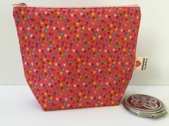 Heart make up bag, cosmetic bag