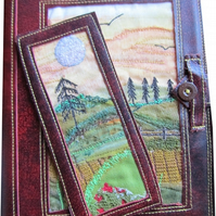 Leather A5 embroidered notebook and bookmark