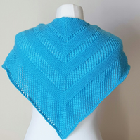 Hand Knitted Triangular Scarf with Lace Panels in Aqua