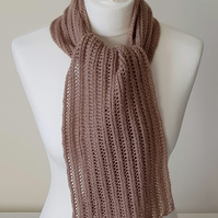 Hand Knitted Lacy Ribbed Scarf in Mocha