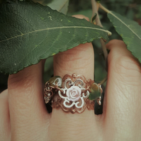 "Pretty  "" Autumn Aventurine leaves ""  Ring"